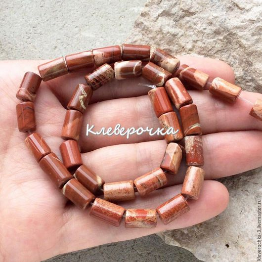 Для украшений ручной работы. Ярмарка Мастеров - ручная работа. Купить Яшма красная 10,5 мм цилиндр бусины камни для украшений. Handmade.