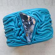 Украшения ручной работы. Ярмарка Мастеров - ручная работа Браслет с агатом в бирюзовой коже. Handmade.