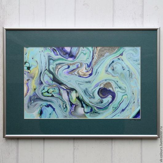 Абстракция ручной работы. Ярмарка Мастеров - ручная работа. Купить живопись на воде 7. Handmade. Мятный, фиолетовый, картина