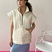 Одежда handmade. Livemaster - original item The vest is insulated with a milky-colored lining. Handmade.