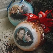 Подарки к праздникам handmade. Livemaster - original item Ironically, Christmas tree balls. Handmade.