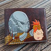 Сумки и аксессуары handmade. Livemaster - original item Predator, shut up and take my money wallet with embossed and painted design. Handmade.