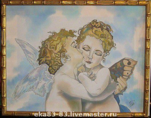 Люди, ручной работы. Ярмарка Мастеров - ручная работа. Купить Ангелочки. Handmade. Батик, холодный батик, декоративное панно