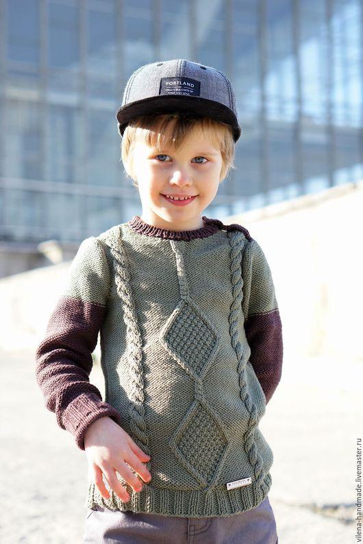 Кофты и свитера ручной работы. Ярмарка Мастеров - ручная работа. Купить Детский вязаный свитер. Handmade. Хаки, детский пуловер