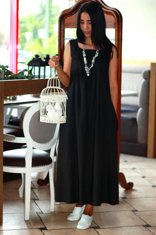 Платье из льна, платье-сарафан бохо из льна, Платья, Калининград,  Фото №1