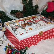 """Подарки к праздникам ручной работы. Ярмарка Мастеров - ручная работа Короб """"Веселые снеговики"""". Handmade."""