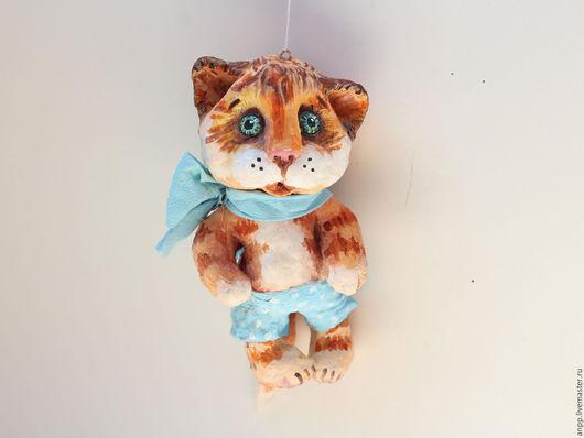 Куклы и игрушки ручной работы. Ярмарка Мастеров - ручная работа. Купить Игрушка ёлочная Котик. Handmade. Рыжий, эмоции в подарок