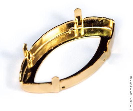 Для украшений ручной работы. Ярмарка Мастеров - ручная работа. Купить Оправа 32х17 золото для Navette Сваровски цапы для кристаллов. Handmade.