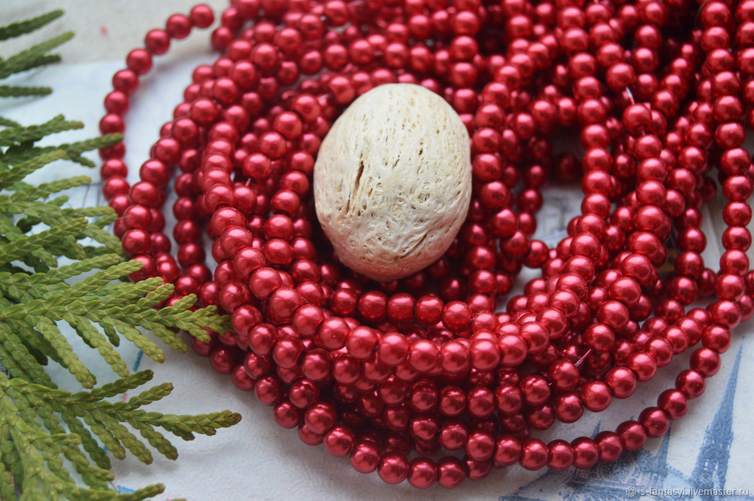 """Pearl glass 4 mm ' Red"""", Beads1, Stavropol,  Фото №1"""