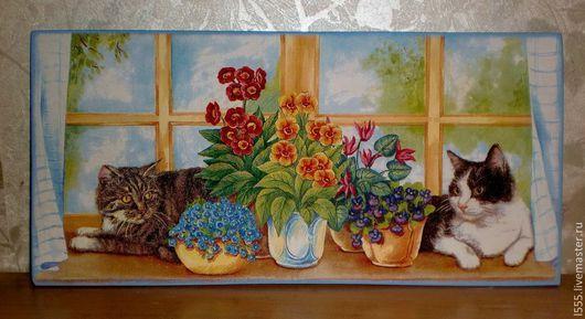 """Кухня ручной работы. Ярмарка Мастеров - ручная работа. Купить Разделочная доска панно """"Две кошки у окошка с цветами"""". Handmade."""