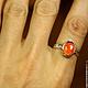 """Кольца ручной работы. Кольцо """"Tangerine"""" с огненным опалом. Mukha Jewellery. Ярмарка Мастеров. Опал натуральный, подарок, болдер опал"""