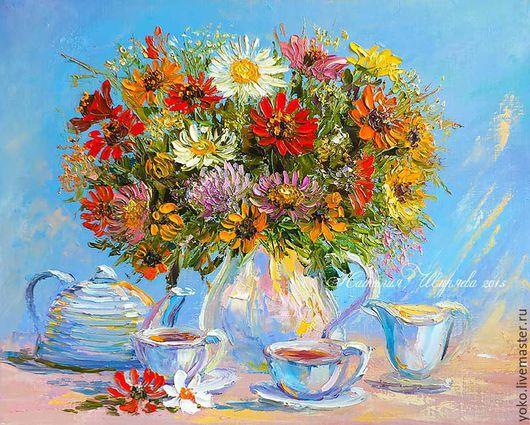 """Картины цветов ручной работы. Ярмарка Мастеров - ручная работа. Купить Картина с букетом цветов """"Чай с Ароматом Бергамота"""" (холст, масло). Handmade."""