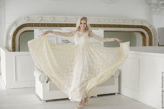 Платья ручной работы. Ярмарка Мастеров - ручная работа. Купить Кружева...женское платье. Handmade. Разноцветный, трикотажное платье, трикотаж