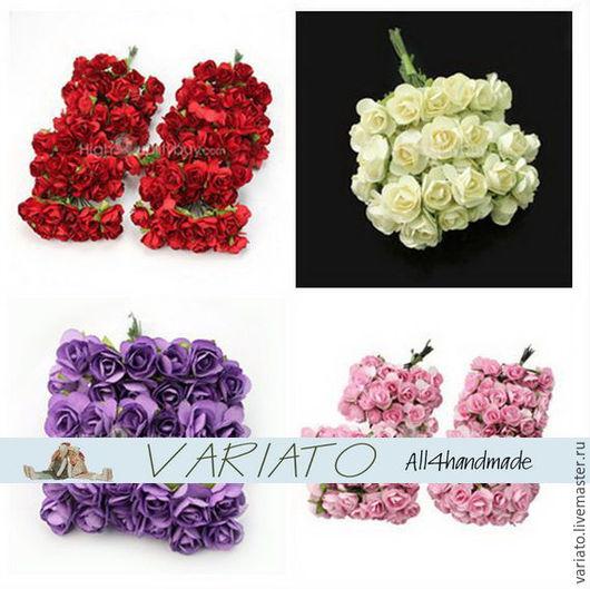 Шитье ручной работы. Ярмарка Мастеров - ручная работа. Купить Цветы бумажные 8 см 4 цвета. Handmade.