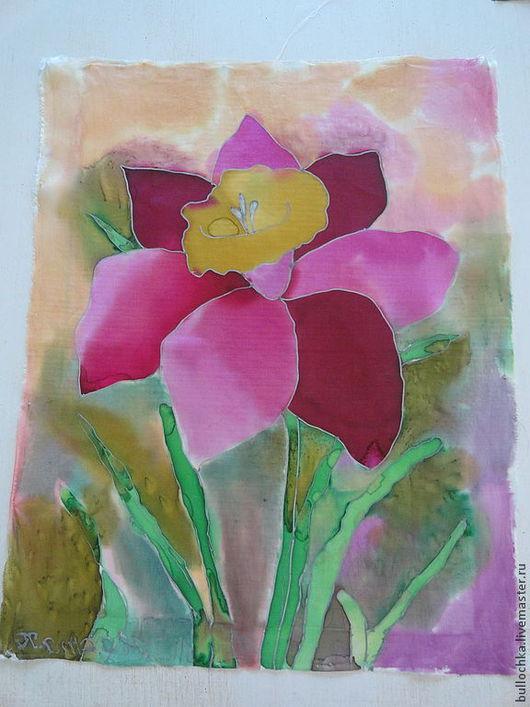 Картины цветов ручной работы. Ярмарка Мастеров - ручная работа. Купить Цветок. Handmade. Батик платок, батик панно