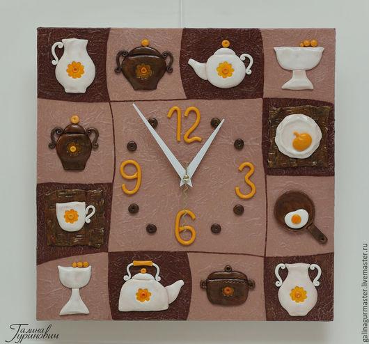 """Часы для дома ручной работы. Ярмарка Мастеров - ручная работа. Купить часы """"Посудка 2"""". Handmade. Желтый, букет, Кастрюля"""