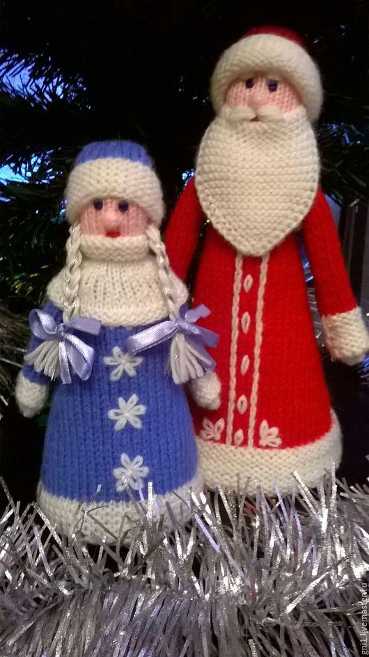 Дед Мороз и Снегурочка вязаные спицами