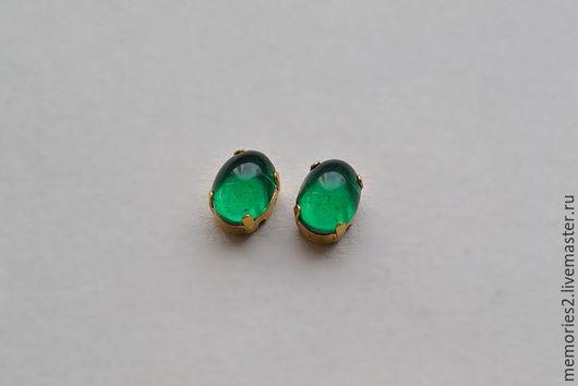 Для украшений ручной работы. Ярмарка Мастеров - ручная работа. Купить Винтажные стразы 8х6 мм цвет Emerald. Handmade.