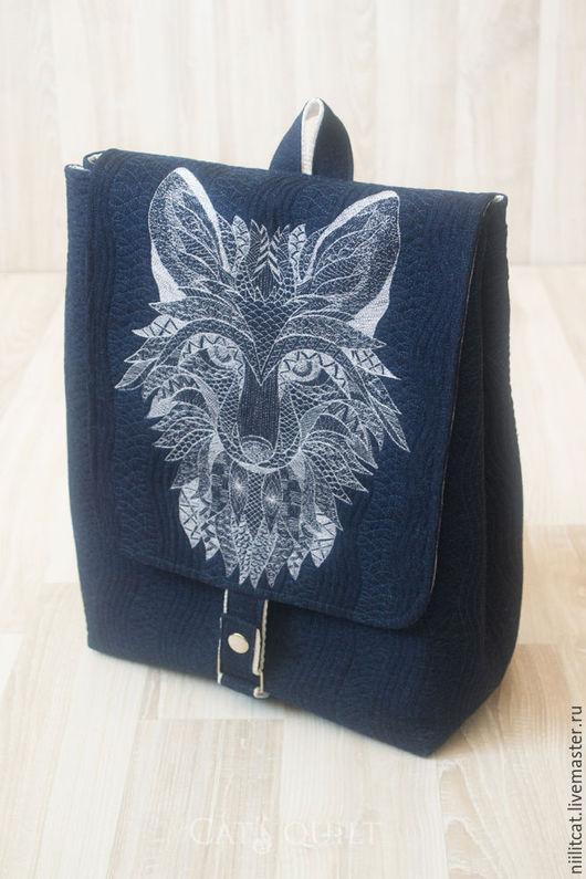 Backpacks handmade. Livemaster - handmade. Buy Backpack Fox, denim.Dark blue, backpack handmade, bag every day