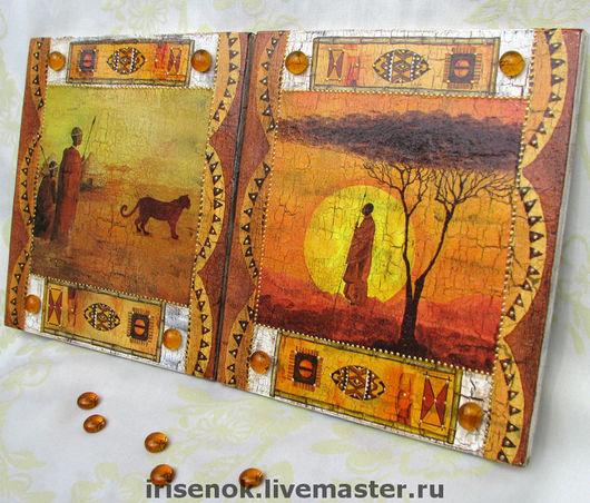 Этно ручной работы. Ярмарка Мастеров - ручная работа. Купить Два Афро-панно. Handmade. Африка, Декупаж, воины, стекло