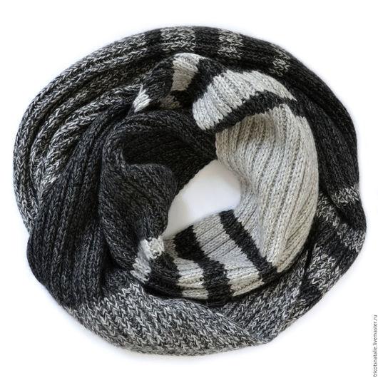 шарф мужской шарф вязаный шарф теплый шарф серый черный темно-серый меланжевый шарф в полоску