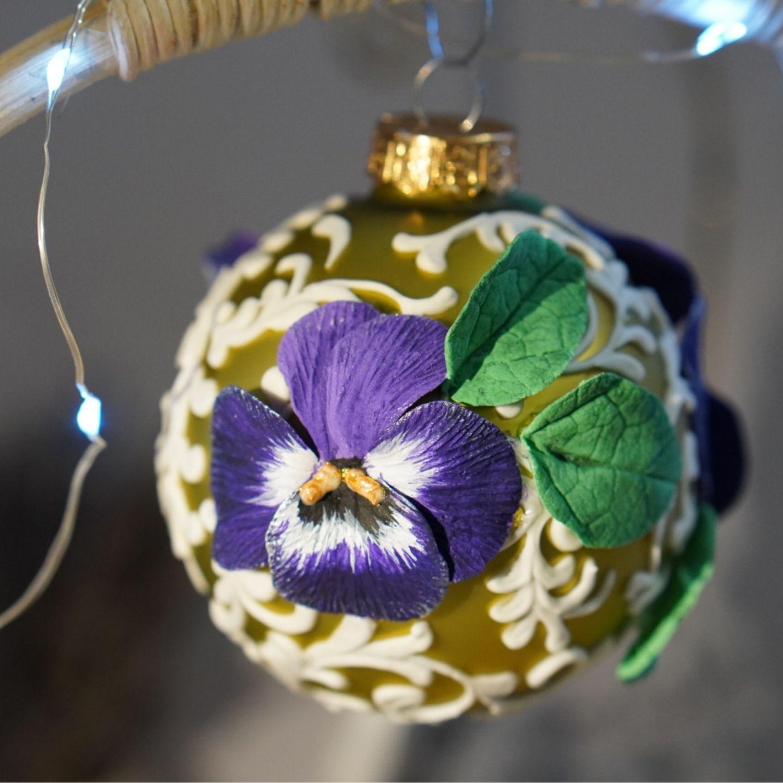 Елочная игрушка стеклянная елочный шар цветок, Елочные игрушки, Москва,  Фото №1