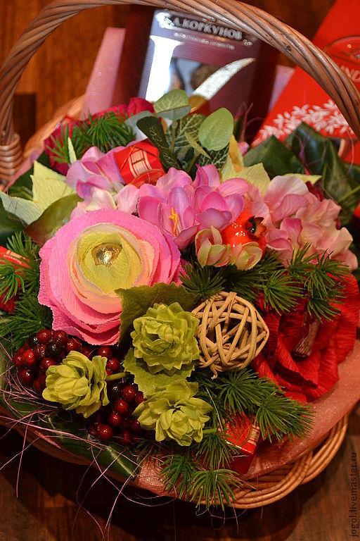 Букеты ручной работы. Ярмарка Мастеров - ручная работа. Купить Дикая орхидея. Handmade. Розовый, подарок женщине, корзина плетёная