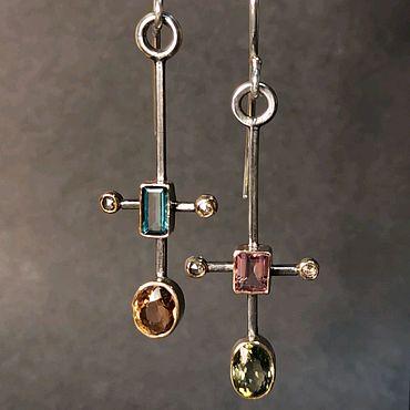 Украшения ручной работы. Ярмарка Мастеров - ручная работа Серьги с турмалинами и алмазами. Handmade.