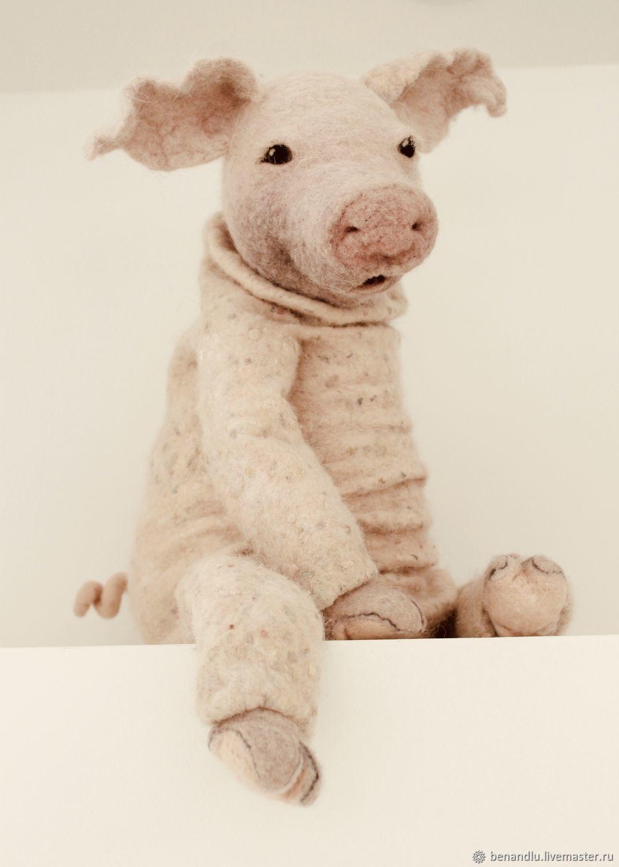 Арт-кукла Свинья. Мягкая игрушка.Шерсть и шелк, Мягкие игрушки, Санкт-Петербург,  Фото №1