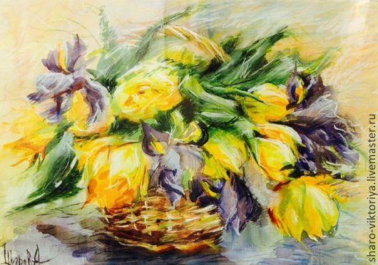 Картины цветов ручной работы. Ярмарка Мастеров - ручная работа. Купить Жёлтые тюльпаны и Ирисы. Handmade. Желтый, насыщенный, солнечный