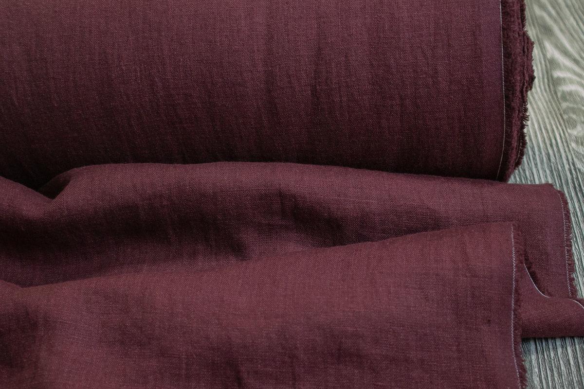 Лён костюмно-плательный умягчённый винный. Энзимная стирка – купить на Ярмарке Мастеров – OTBOWRU   Ткани, Минск