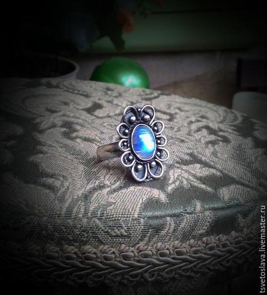 """Кольца ручной работы. Ярмарка Мастеров - ручная работа. Купить Кольцо """"Лунный Цветок"""" серебро,адуляр. Handmade. Голубой, адуляр"""