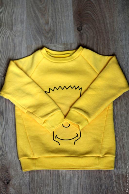 Одежда для мальчиков, ручной работы. Ярмарка Мастеров - ручная работа. Купить Свитшот детский. Handmade. Желтый, симпсоны, дети