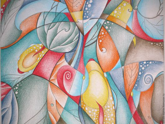 Абстракция ручной работы. Ярмарка Мастеров - ручная работа. Купить ...про Море.... Handmade. Акварельные карандаши, абстрактный рисунок, рыбы