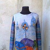 Одежда ручной работы. Ярмарка Мастеров - ручная работа свитерок вязано-валяный. Handmade.
