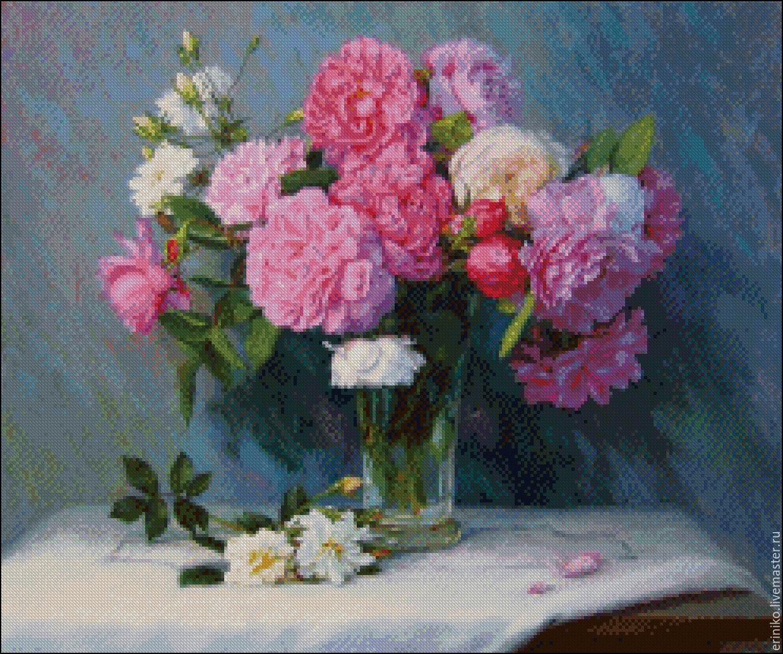 Вышивка крестом пионы розовые