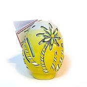 Подарки к праздникам ручной работы. Ярмарка Мастеров - ручная работа Пасхальная резная свеча Пасхальное яйцо (Ромашки). Handmade.