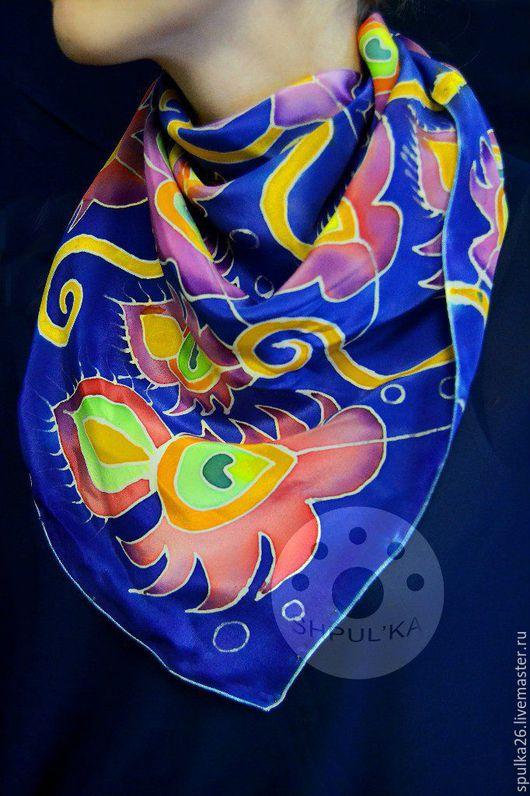 Шарфы и шарфики ручной работы. Ярмарка Мастеров - ручная работа. Купить Жар Птица. Handmade. Батик платок, рисунок на ткани