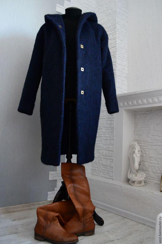 Верхняя одежда ручной работы. Ярмарка Мастеров - ручная работа. Купить Зимнее пальто. Handmade. Тёмно-синий, индивидуальный пошив