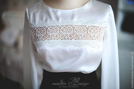 Блузки ручной работы. Ярмарка Мастеров - ручная работа. Купить Белая блузка. Handmade. Однотонный, шелковая блузка
