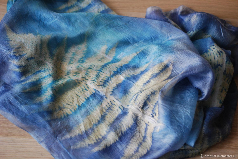 Tippet silk 'Fern blue-green' ekoprint, Wraps, Moscow,  Фото №1