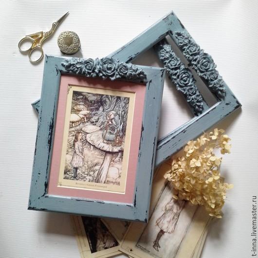Фоторамки ручной работы. Ярмарка Мастеров - ручная работа. Купить Рамки для фотографий  Винтажные с розами. Handmade. Тёмно-синий