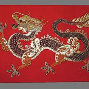 Фен-шуй и эзотерика ручной работы. Ярмарка Мастеров - ручная работа Панно текстильное талисман Золотой Китайский Дракон. Handmade.