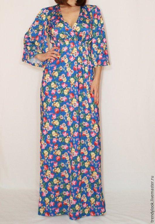 Платья ручной работы. Ярмарка Мастеров - ручная работа. Купить Ярко-синее Платье в русском стиле платье кимоно Платье в цветочек. Handmade.