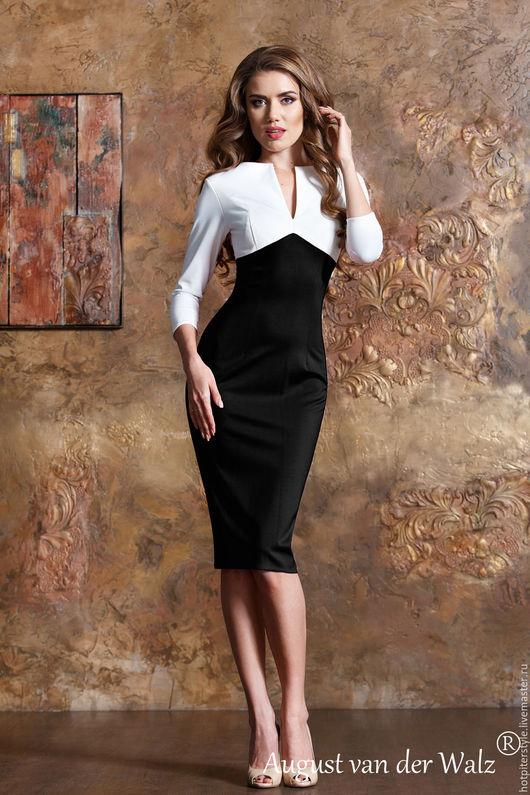 Платье футляр, рукав три четверти, длина платья миди, сезон осень, зима, весна. Тёплое повседневное платье. Ручная работа. Сделано в Санкт-Петербурге.