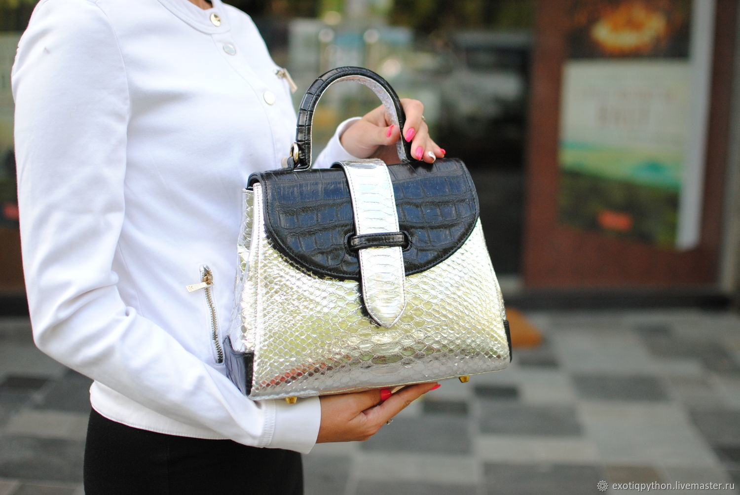 Python and crocodile leather bag Silver Mascot, Classic Bag, Moscow,  Фото №1