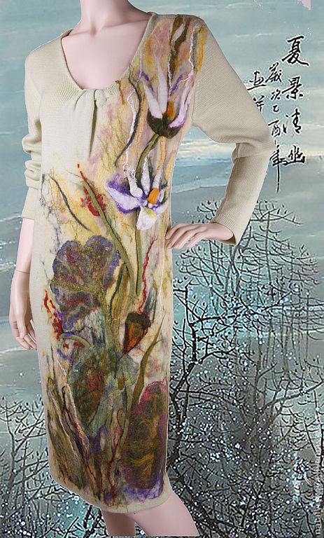 Платья ручной работы. Ярмарка Мастеров - ручная работа. Купить Лотосы Платье вязаное с валяным декором. Handmade. Платье