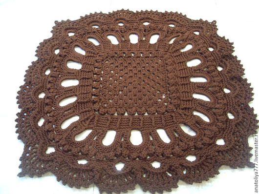 Текстиль, ковры ручной работы. Ярмарка Мастеров - ручная работа. Купить Вязаный квадратный коврик ручной работы из шнура Элитный-2. Handmade.