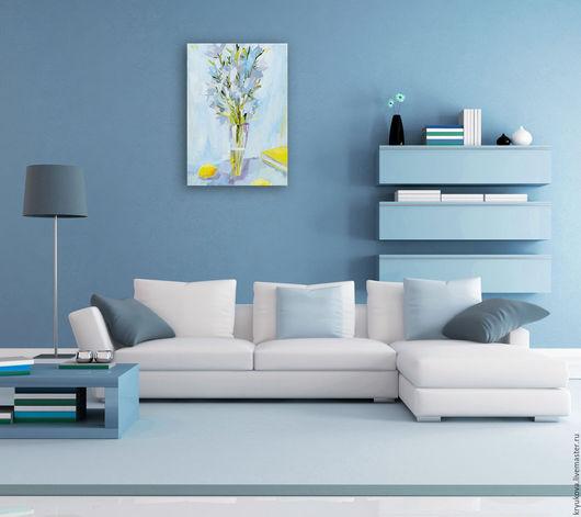 Картина с колокольчиками Картина цветов в подарок Белый букет Цветы маслом  Полевые цветы картина