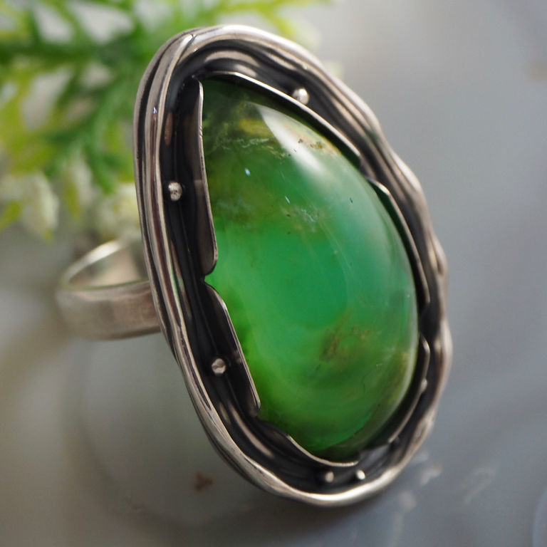Ring 'Green Apple' - Resopal, silver 925, Rings, Prague,  Фото №1